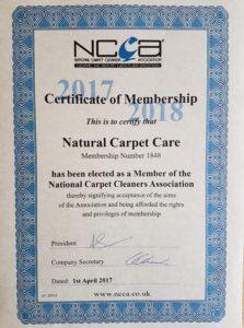 NCCA Membership certificate