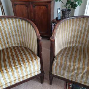 Before cleaning and after - antique tub chairs